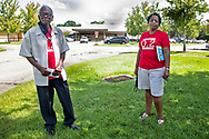 Robert Taylor, founder of the Conccerned Citizens of St. John the Baptist Parish and Sharon Lavigne, founder of Rise St. James at a protest in front of the 5ht Ward Elementary Shcool that opened despite the pandemic.