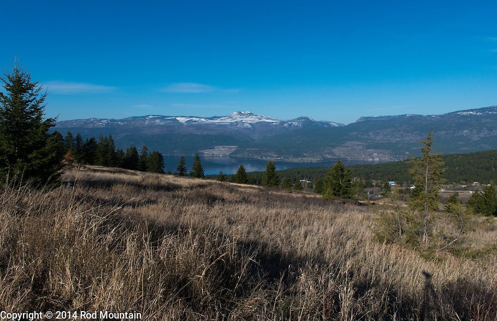 A view of the Okanagan lake from the surrounding hills near Vernon, British Columbia.