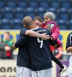 Falkirk's Thomas Scobie and Falkirk's Farid El Alagui at the end..Falkirk 3 v 2 Ayr United, 5/5/2012..©Michael Schofield..