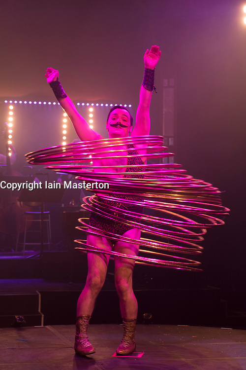 Edinburgh, Scotland, United Kingdom. 21November, 2017. Cabaret group Le Clique present their Christmas show Le Clique Noel at the Spiegeltent in Edinburgh as part of the city's annual Christmas festivities. Craig Reid performs with  his Hula Hoops.