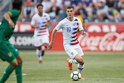 May 28, 2018 - Chester, PA, U.S. - CHESTER, PA - MAY 28: United States midfielder Christian Pulisic (10) dribbles the ball during the international friendly match between the United States and Bolivia at the Talen Energy Stadium on May 28, 2018 in Chester, Pennsylvania. (Photo by Robin Alam/Icon Sportswire) (Credit Image: © Robin Alam/Icon SMI via ZUMA Press)