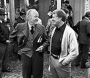 President elect Jimmy Carter talks with former Vice President Hubert Humphrey after a pre inaugural economic update for the soon to be president. The briefing was held at Carter's Pond House retreat near his hometown of Plains, Georgia. - To license this image, click on the shopping cart below -