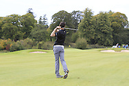 Jake Whelan (MU) on the 18th fairway during the Final of the AIG Senior Cup at the AIG Cups & Shields National Finals in Carton House, Maynooth, Co. Kildare on the 19/09/15.<br /> Picture: Thos Caffrey | Golffile