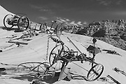 Old Farm Machines, Outlaw Trail Ranch, sandstone rock, hoodoo rocks, Escalante Utah, Sothwest Desert near Escalante Petrified Forest State Park and Grand Staircase-Escalante National Monument