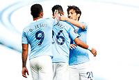 Football - 2019 / 2020 Premier League - Manchester City vs Norwich City<br /> <br /> Riyad Mahrez of Manchester City celebrates at the Etihad Stadium.<br /> <br /> COLORSPORT/LYNNE CAMERON