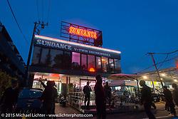 Sundance V-Twin Skunkworks motorcycle shop after Mooneyes. Tokyo, Japan. December 8, 2015.  Photography ©2015 Michael Lichter.
