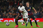 Midfielder Amadou Haidara Of Leipzig and Midfielder Tanguy NDombele of Tottenham compete for the ball during the UEFA Champions League match between Tottenham Hotspur and RB Leipzig, at The Tottenham Hotspur Stadium, Thursday, Feb. 20 2020,  in  London, United Kingdom. (Mitchell Gunn/Image of Sport)
