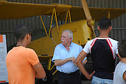 Israel, Hazirim, near Beer Sheva, Israeli Air Force museum. The national centre for Israel's aviation heritage Yaacov Turner (centre) Museum founder and commander