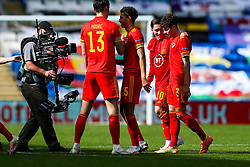 Harry Wilson of Wales congratulates match winner Neco Williams after he scores an injury time goal in a 1-0 win - Rogan/JMP - 06/09/2020 - FOOTBALL - Cardiff City Stadium - Cardiff, Wales - Wales v Bulgaria - UEFA Nations League Group B4.