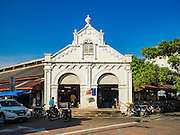 17 NOVEMBER 2016 - GEORGE TOWN, PENANG, MALAYSIA:  The entrance to the Campbell Street Market in George Town, Penang, Malaysia. George Town is a UNESCO World Heritage city and wrestles with maintaining its traditional lifestyle and mass tourism. The market is not very busy anymore.       PHOTO BY JACK KURTZ