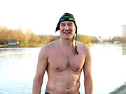 Portrait of George Cselko a member of the Serpentine Swimming Club, Hyde Park, London, UK. The Serpentine Lake is situated in Hyde Park, London's largest central open space. The Serpentine Swimming Club was formed in 1864 'to promote the healthful habit of bathing in open water throughout the year'.  Its headquarters were beneath an old elm tree on the south side of the lake, a wooden bench for clothing being the only facility.  At this time London was undergoing rapid expansion and Hyde Park was now in the centre of a densely populated built up area and provided a place of relaxation to its urbanised masses. Now, the club has its own (somewhat spartan) changing facilities and members are  permitted by the Royal Parks to swim in the lake any morning before 09:30.  They race every Saturday morning throughout the year, regardless of the weather.