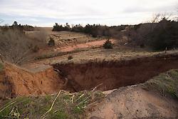 Ravine Washout Along Old US Route 66, N 2600 Road, near Bridgeport Oklahoma