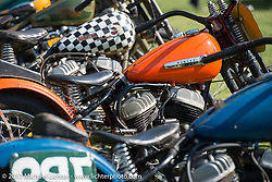 Flat track racers on display at the Born Free 9 Motorcycle Show. Costa Mesa, CA. USA. Friday June 23, 2017. Photography ©2017 Michael Lichter.