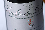 Detail of label on bottle of Clos de la Coulee de Serrant, Nicolas Joly. Loire, France