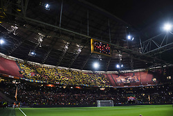 """October 10, 2017 - Amsterdam, NEDERLÃ""""NDERNA - 171010 Svenska supportrar pÃ¥ läktaren under VM-kvalmatchen i fotboll mellan Holland och Sverige den 10 oktober 2017 i Amsterdam  (Credit Image: © Joel Marklund/Bildbyran via ZUMA Wire)"""