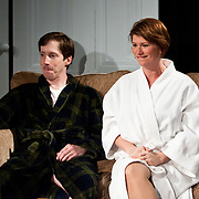 Christine Penney (Joan) and Andrew Fling (Harry), in a scene from the Harbor Light Stage production of Love Song, a play by John Kolvebnbach, directed by Kent Stephens at The Music Hall Loft in Portsmouth, NH, May, 2011