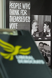 © Licensed to London News Pictures . 07/03/2014 . York , UK . Photograph of Cyril Smith and David Steel on a Liberal History stand in the exhibition hall . The first day of the Liberal Democrat Spring Conference . Photo credit : Joel Goodman/LNP