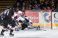 KELOWNA, CANADA - FEBRUARY 10: Leif Mattson #28 of the Kelowna Rockets scores his second goal in the second period on Ryan Kubic #20 of the Vancouver Giants on February 10, 2017 at Prospera Place in Kelowna, British Columbia, Canada.  (Photo by Marissa Baecker/Shoot the Breeze)  *** Local Caption ***