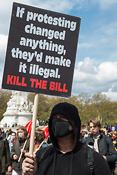London, UK. 1st May, 2021. Thousands of people march in front of Buckingham Palace during a Kill The Bill demonstration as part of a National Day of Action on International Workers Day. Nationwide protests have been organised against the Police, Crime, Sentencing and Courts Bill, which would grant the police a range of new discretionary powers to shut down protests.