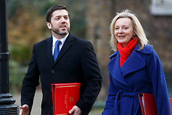 © Licensed to London News Pictures. 03/03/2015. LONDON, UK. Welsh Secretary Stephen Crabb and Environment Secretary Liz Truss attending to a cabinet meeting in Downing Street on Tuesday, 3 March 2015. Photo credit: Tolga Akmen/LNP