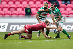 Scarlets' Paul Asquith scores his sides fifth try<br /> <br /> Photographer Simon King/Replay Images<br /> <br /> EPCR Champions Cup Round 3 - Scarlets v Benetton Rugby - Saturday 9th December 2017 - Parc y Scarlets - Llanelli<br /> <br /> World Copyright © 2017 Replay Images. All rights reserved. info@replayimages.co.uk - www.replayimages.co.uk
