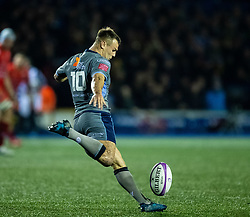 Jarrod Evans of Cardiff Blues<br /> <br /> Photographer Simon King/Replay Images<br /> <br /> European Rugby Challenge Cup Round 2 - Cardiff Blues v Leicester Tigers - Saturday 23rd November 2019 - Cardiff Arms Park - Cardiff<br /> <br /> World Copyright © Replay Images . All rights reserved. info@replayimages.co.uk - http://replayimages.co.uk