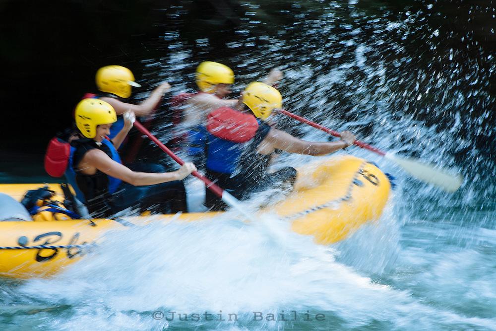 Whitewater rafting on the White Salmon River, WA.