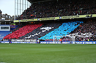 Crystal Palace Ultra fans stand for a minutes silence in respect for the victims of the Croydon Tram disaster. Premier League match, Crystal Palace v Manchester city at Selhurst Park in London on Saturday 19th November 2016. pic by John Patrick Fletcher, Andrew Orchard sports photography.