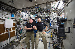 January 21, 2016 - Earth Atmosphere - NASA astronaut SCOTT KELLY (left) and Russian cosmonaut MIKHAIL KORNIENKO (right) Marchked their 300th consecutive day aboard the International Space Station on January. 21, 2016. The pair will spend a total of 340 days in space on their one-year mission as researchers hope to better understand how the human body reacts and adapts to long-duration spaceflight. This knowledge is critical as NASA looks toward human journeys deeper into the solar system, including to and from Marchs, which could last 500 days or longer. (Credit Image: ? Scott Kelly/NASA via ZUMA Wire/ZUMAPRESS.com)
