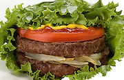 Double Burger in lettuce on white background