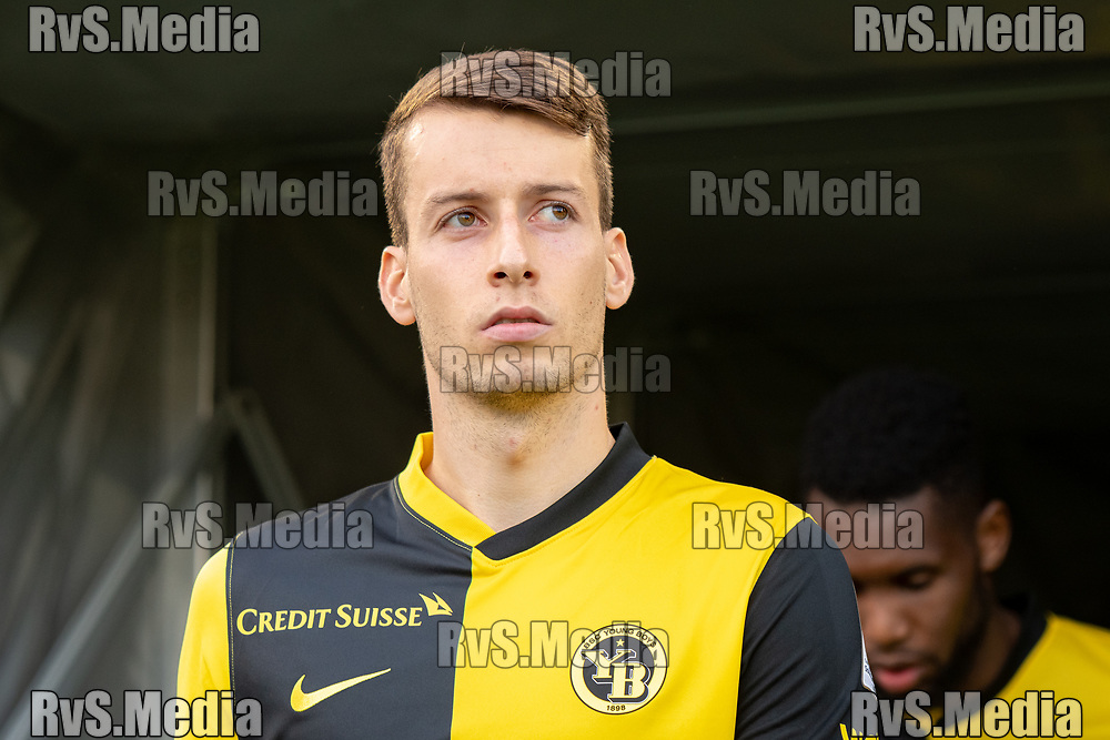 LAUSANNE, SWITZERLAND - SEPTEMBER 22: Sandro Lauper #30 of BSC Young Boys looks on before the Swiss Super League match between FC Lausanne-Sport and BSC Young Boys at Stade de la Tuiliere on September 22, 2021 in Lausanne, Switzerland. (Photo by Basile Barbey/RvS.Media/)