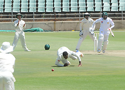 Johannesburg 20-12-18. South Africa Invitation XI vs Pakistan three-day match at Sahara Willowmoore Park, Benoni. Day 2.  South African bowler Tshepo Ndwandwa crosses the wicket after bowling to Pakistanbatsman during the afternoon session. Picture: Karen Sandison/African News Agency(ANA)