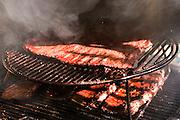 Bounty Hunter Restaurant and Bar, Napa, California. Napa Valley. Barbecued, smoked ribs.