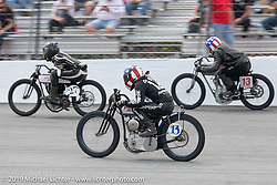 Brittney Olsen's 1923 Harley-Davidson 61 ci Hot Class number 13x built by Matt Olsen of Carl's Cycle Supply racing against Josh Young and Ebay Jake at the Sons of Speed Vintage Motorcycle Races at New Smyrina Speedway. New Smyrna Beach, USA. Saturday, March 9, 2019. Photography ©2019 Michael Lichter.