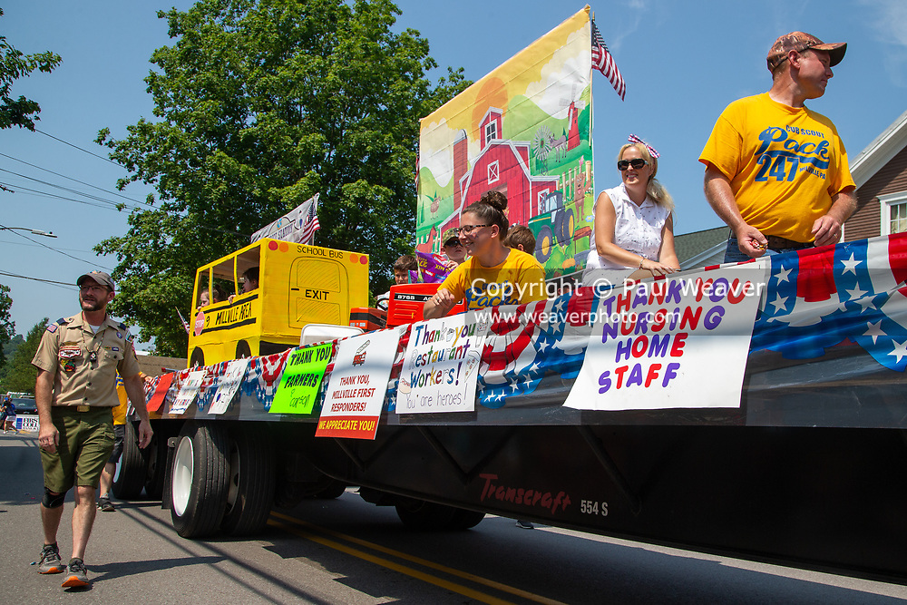 Cub Scout Pack 247's float in the Independence Day parade honors essential workers such as restaurant workers, school bus drivers and nursing home staff.