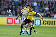 Etienne Capoue of Watford shields the ball from Ki Sung-Yueng of Swansea city.Premier league match, Swansea city v Watford at the Liberty Stadium in Swansea, South Wales on Saturday 22nd October 2016.<br /> pic by  Andrew Orchard, Andrew Orchard sports photography.