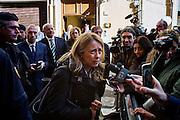 Giorgia Meloni dopo l'incontro al Pd con Matteo Renzi, per l'elezione del Presidente della Repubblica, Roma 27 gennaio 2015.  Christian Mantuano / OneShot