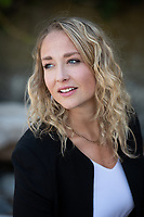 Jenna Hickman of Beattie Tartan Communications Group takes time out for a casual portrait by the ocean in Victoria, BC.