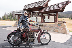 Rich Rau of Oregon with his 1916 Indian at the top of Wolf Creek pass during the Motorcycle Cannonball Race of the Century. Stage-10 ride from Pueblo, CO to Durango, CO. USA. Tuesday September 20, 2016. Photography ©2016 Michael Lichter.