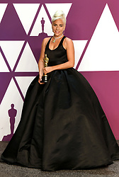 """Lady Gaga, winner of the Best Original Song Award for """"Shallow"""" in """"A Star Is Born"""" at the 91st Annual Academy Awards (Oscars) presented by the Academy of Motion Picture Arts and Sciences.<br />(Hollywood, CA, USA)"""