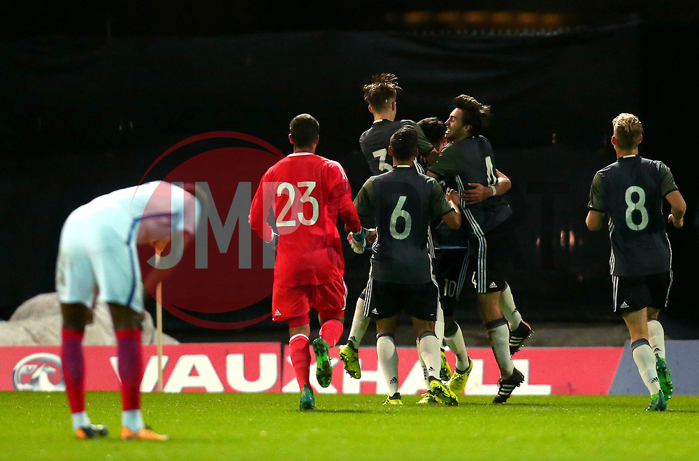 Germany Under 19s celebrate scoring a third goal and sealing a victory against England U19 - Mandatory by-line: Robbie Stephenson/JMP - 05/09/2017 - FOOTBALL - One Call Stadium - Mansfield, United Kingdom - England U19 v Germany U19 - International Friendly