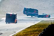 De Jumbo Racedagen, driven by Max Verstappen op Circuit Zandvoort. / The Jumbo Race Days, driven by Max Verstappen at Circuit Zandvoort.<br /> <br /> Op de foto / On the photo:  Max Verstappen en Daniel Ricciardo in actie tijdens de Caravanrace
