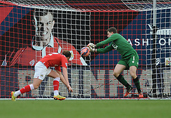 Bristol City Goalkeeper, Frank Fielding makes a save from West Ham's Andy Carroll's shot - Photo mandatory by-line: Dougie Allward/JMP - Mobile: 07966 386802 - 25/01/2015 - SPORT - Football - Bristol - Ashton Gate - Bristol City v West Ham United - FA Cup Fourth Round