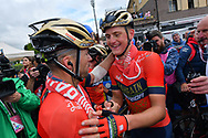 Arrival winner of the stage Matej Mohoric (SLO - Bahrain - Merida) during the 101th Tour of Italy, Giro d'Italia 2018, stage 10, Penne - Gualdo Tadino 239 km on May 15, 2018 in Italy - Photo Dario Belingheri / BettiniPhoto / ProSportsImages / DPPI