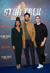 (left to right) Sonequa Martin-Green, Shazad Latif and producer Aaron Harberts attend the Star Trek: Discovery special fan screening photocall at Millbank Tower on Sunday, 5th November..Picture dated: Sunday November 5, 2017. Photo credit should read: Isabel Infantes / EMPICS Entertainment.