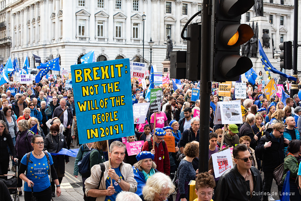 People march to parliament and protest against Brexit. Sign reads Brexit: Not the will of the people in 2019!