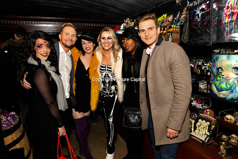 Lili Rose, Chris Shannon, Oriana Curls, Larissa Eddie, Corene Campbell and Harry Kersley attend BBC1 All Together Now Series 1 Cast Members, fright night at The London Bridge Experience & London Tombs on 28 October 2018, London, UK.