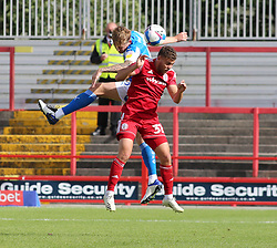 Frankie Kent of Peterborough United in action with Dion Charles of Accrington Stanley - Mandatory by-line: Joe Dent/JMP - 12/09/2020 - FOOTBALL - Wham Stadium - Accrington, England - Accrington Stanley v Peterborough United - Sky Bet League One