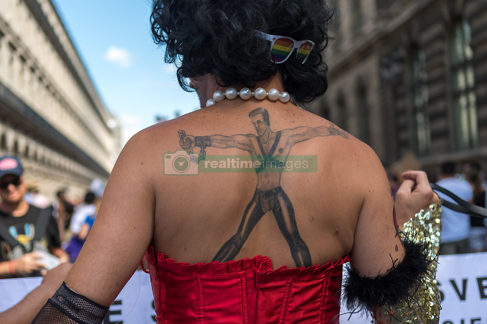 People participate in the Gay Pride Parade rally and march in the streets on June 24, 2017 in Paris, France. 2017 marks the 40th anniversary of the first Gay Pride March in the French capital. (Photo by Julien Mattia/NurPhoto) *** Please Use Credit from Credit Field ***