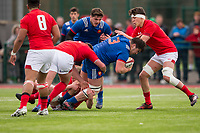 France's Regis Montagne in action during todays match<br /> <br /> Photographer Bob Bradford/CameraSport<br /> <br /> The 2018 U18 6 Nations Festival - Wales U18 v France U18 - Saturday 31st March 2018 - CCB Centre for Sporting Excellence, Ystrad Mynach Hengoed <br /> <br /> World Copyright © 2018 CameraSport. All rights reserved. 43 Linden Ave. Countesthorpe. Leicester. England. LE8 5PG - Tel: +44 (0) 116 277 4147 - admin@camerasport.com - www.camerasport.com